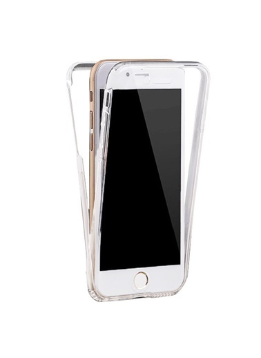 Microsonic iPhone 8 Plus Kılıf 6 tarafı tam full koruma 360 Clear Soft  Renksiz